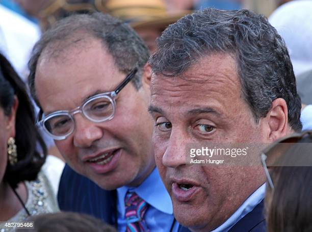 Owner of American Pharoah Ahmed Zayat with Governor of New Jersey Chris Christie after Pharoah won the 48th William Hill Haskell Invitational at...