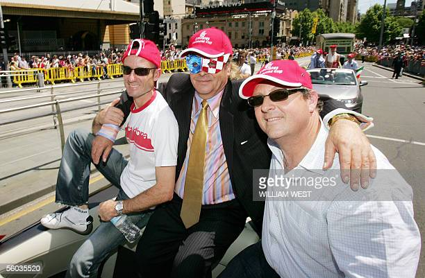 Owner of Australia's most famous race horse Makybe Diva, Tony Santic , poses with trainer Lee Freedman and jockey Glen Boss during the Melbourne Cup...