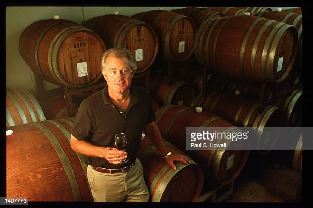 Owner of Fall Creek Vineyards Ed Auler stands in the Barrel Room August 6 1992 in Austin TX There are 26 wineries in Texas and the wines are ranked...