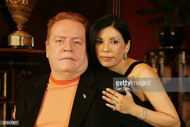 Owner of Hustler publications Larry Flynt and his wife Liz Berrios in his office in Los Angeles on 29th Oct 2004