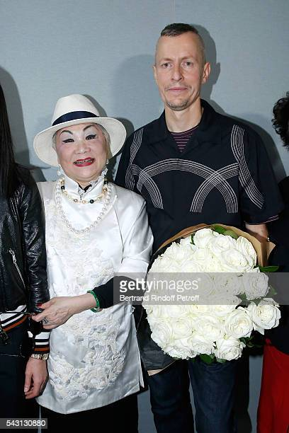 Owner of Lanvin Shaw Lan Wang and Stylist Lucas Ossendrijver attend the Lanvin Menswear Spring/Summer 2017 show as part of Paris Fashion Week on June...