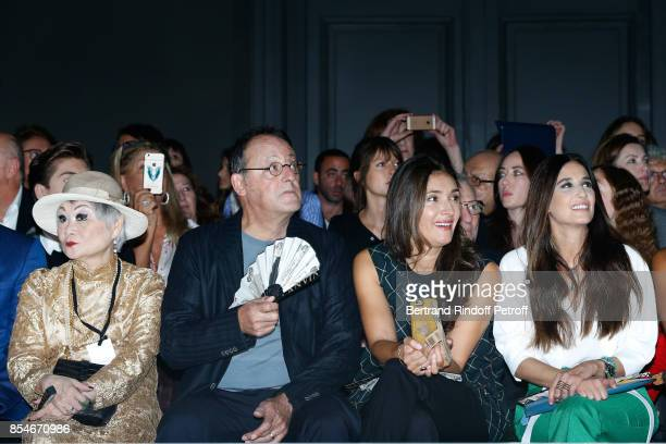 Owner of Lanvin Shaw Lan Wang Jean Reno his wife Zofia and Yara Lapidus attend the Lanvin show as part of the Paris Fashion Week Womenswear...