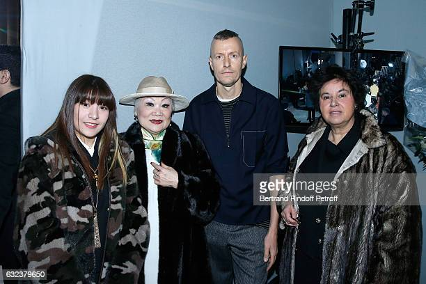 Owner of Lanvin Shaw Lan Wang with her granddaughter Fifi, Stylist of 'Lanvin Men', Lucas Ossendrijver and General Director of Lanvin Michele Huiban...