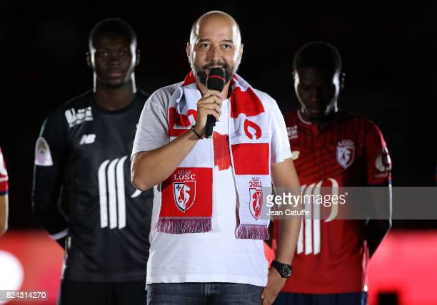 Owner of Lille Gerard Lopez during the team presentation prior to the pre-season friendly match between Lille OSC and Stade Rennais FC at Stade...