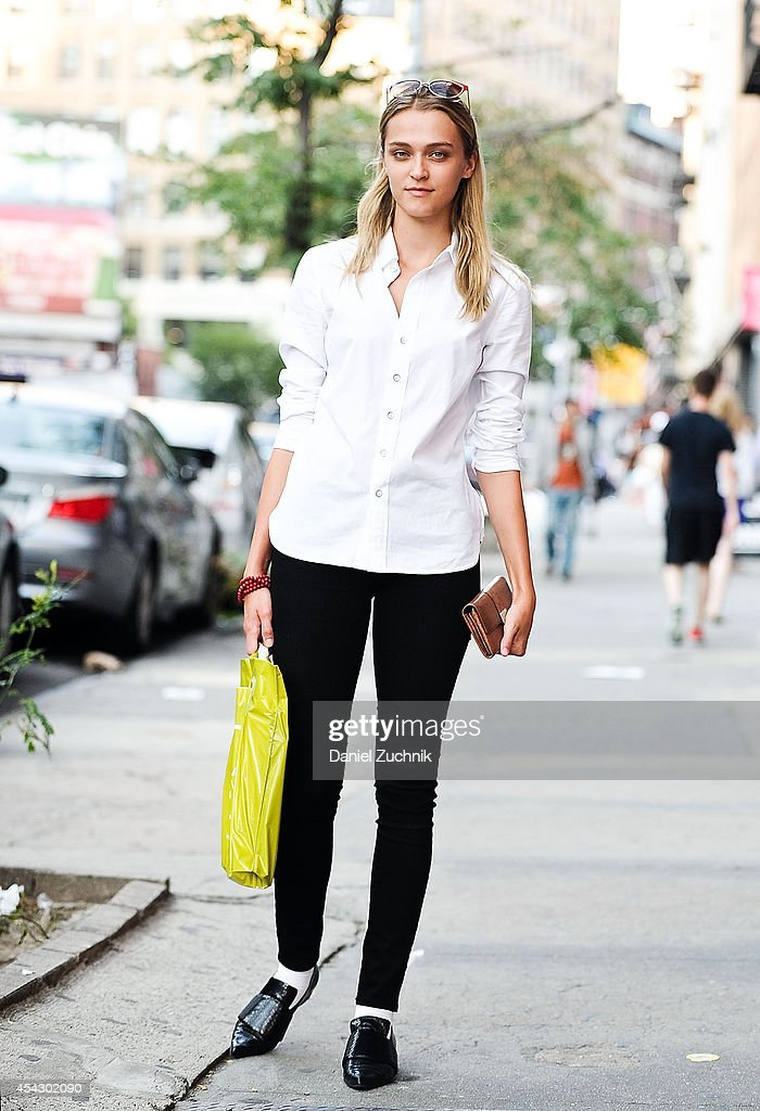 Owner of Lions Model Agency Madisyn Ritland is seen around Soho wearing Rag and Bone shirt, Acne pants, Rodarte shoes with a Gucci clutch on August 28, 2014 in New York City.