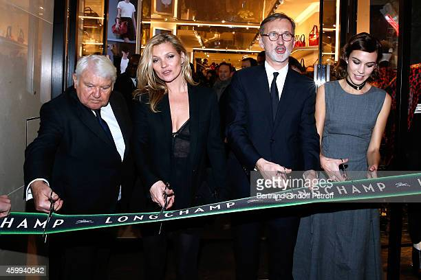 Owner of Longchamp Philippe Cassegrain Model Kate Moss General Director of Longchamp Jean Cassegrain and TV host Alexa Chung attend the Longchamp...