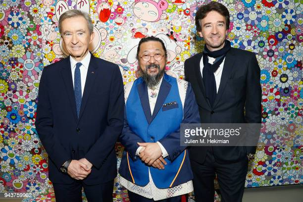 Owner of LVMH Luxury Group and President of the Louis Vuitton Foundation Bernard Arnault Japanese Artist Takashi Murakami and General manager of...