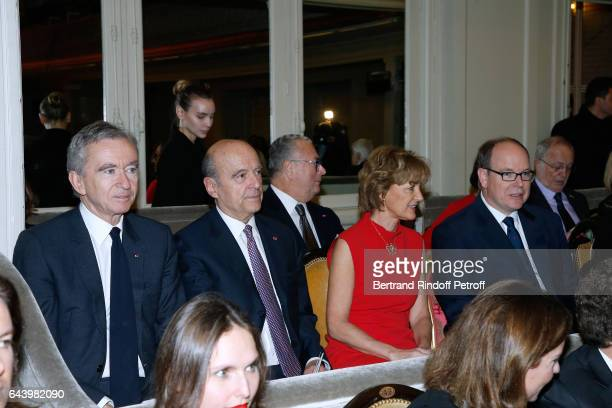 Owner of LVMH Luxury Group Bernard Arnault Alain Juppe his wife Isabelle and Prince Albert II de Monaco attend the celebration of the 10th...