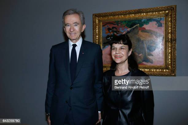 "Owner of LVMH Luxury Group Bernard Arnault and Director of ""Musee des Beaux Arts Pouchkine"", Marina Loshak attend the Private View of ""Icones de..."