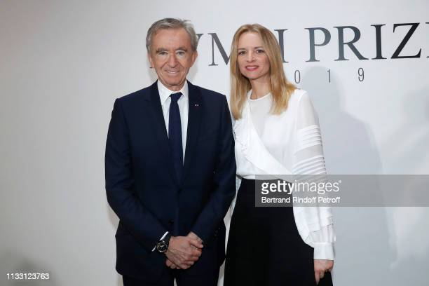 Owner of LVMH Luxury Group Bernard Arnault and his daughter Louis Vuitton's executive vice president Delphine Arnault attends the LVMH Prize 2019...