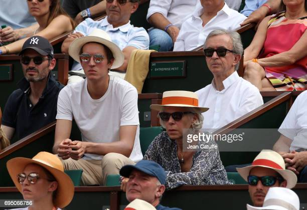 Owner of LVMH Luxury Group Bernard Arnault and his son attend the men's final on day 15 of the 2017 French Open second Grand Slam of the season at...