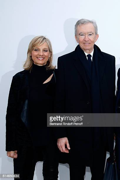 Owner of LVMH Luxury Group Bernard Arnault and his wife Helene pose backstage after the Louis Vuitton show as part of the Paris Fashion Week...
