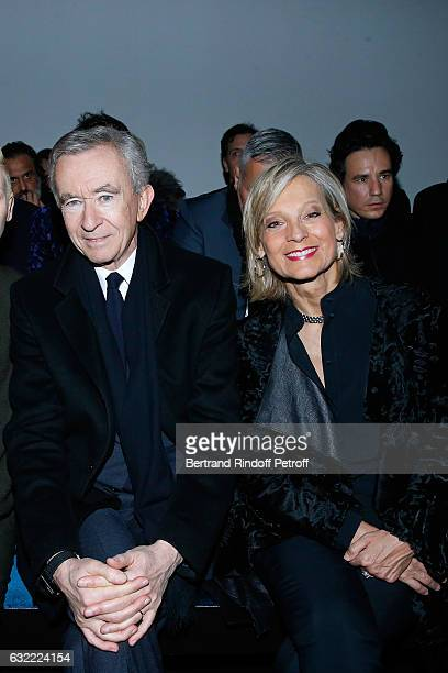 Owner of LVMH Luxury Group Bernard Arnault and his wife Helene Arnault attend the Berluti Menswear Fall/Winter 20172018 show as part of Paris Fashion...