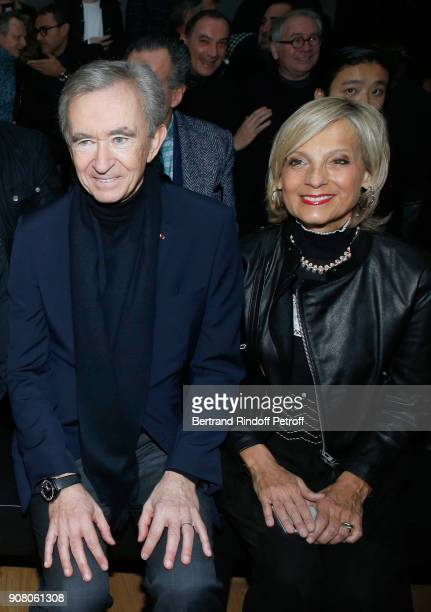 Owner of LVMH Luxury Group Bernard Arnault and his wife Helene MercierArnault attend the Dior Homme Menswear Fall/Winter 20182019 show as part of...