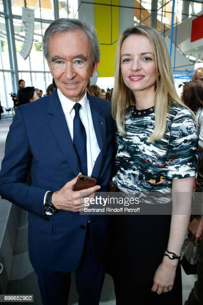 Owner of LVMH Luxury Group Bernard Arnault and President of the Jury of the Prize Louis Vuitton's executive vice president Delphine Arnault attend...