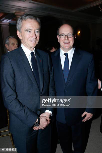 Owner of LVMH Luxury Group Bernard Arnault and Prince Albert II de Monaco attend the celebration of the 10th Anniversary of the 'Fondation Prince...