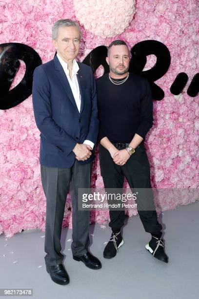 Owner of LVMH Luxury Group Bernard Arnault and Stylist Kim Jones pose after the Dior Homme Menswear Spring/Summer 2019 show as part of Paris Fashion...