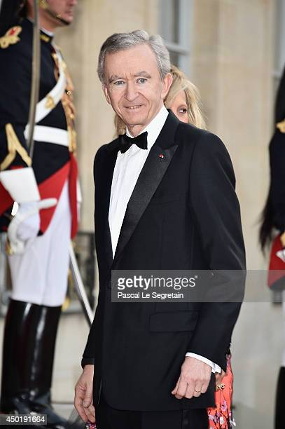 Owner of LVMH Luxury Group Bernard Arnault arrives at the Elysee Palace for a State dinner in honor of Queen Elizabeth II, hosted by French President...