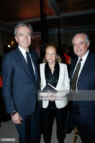Owner of LVMH Luxury Group Bernard Arnault Doris Brynner and Frederic Mitterrand attend the celebration of the 10th Anniversary of the Fondation...
