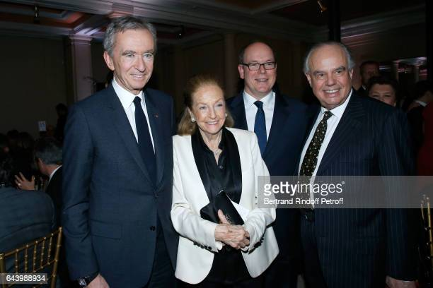 Owner of LVMH Luxury Group Bernard Arnault Doris Brynner Prince Albert II de Monaco and Frederic Mitterrand attend the celebration of the 10th...