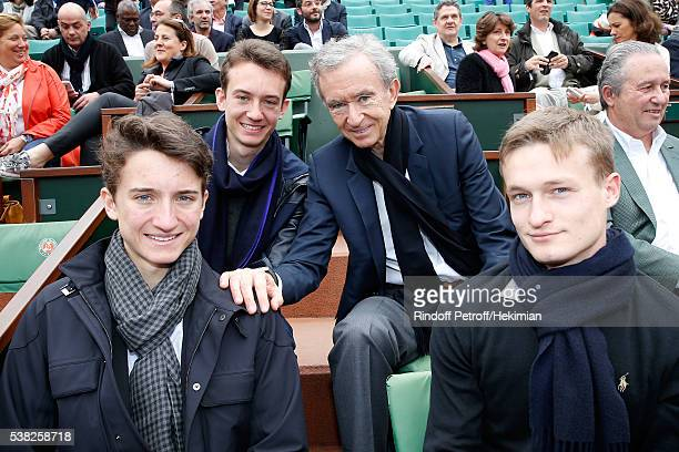 Owner of LVMH Luxury Group Bernard Arnault , his sons Frederic , Jean and guest attend Day Fifteen, Men single's Final of the 2016 French Tennis Open...