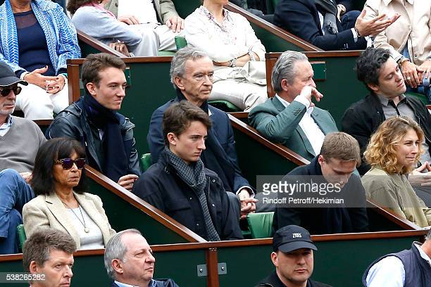 Owner of LVMH Luxury Group Bernard Arnault his sons Frederic Jean and guest attend Day Fifteen Men single's Final of the 2016 French Tennis Open at...
