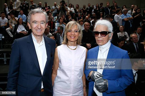 Owner of LVMH Luxury Group Bernard Arnault his wife Helene Arnault and Karl Lagerfeld attend the Dior Homme Menswear Spring/Summer 2017 show as part...