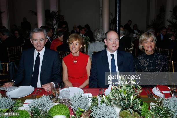 Owner of LVMH Luxury Group Bernard Arnault Isabelle Juppe Prince Albert II de Monaco and pianist Helene Mercier attend the celebration of the 10th...