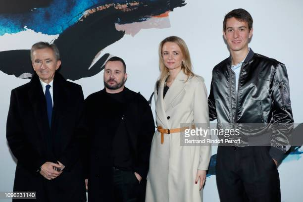 Owner of LVMH Luxury Group Bernard Arnault Stylist Kim Jones Louis Vuitton's executive vice president Delphine Arnault and CEO of Rimowa Alexandre...