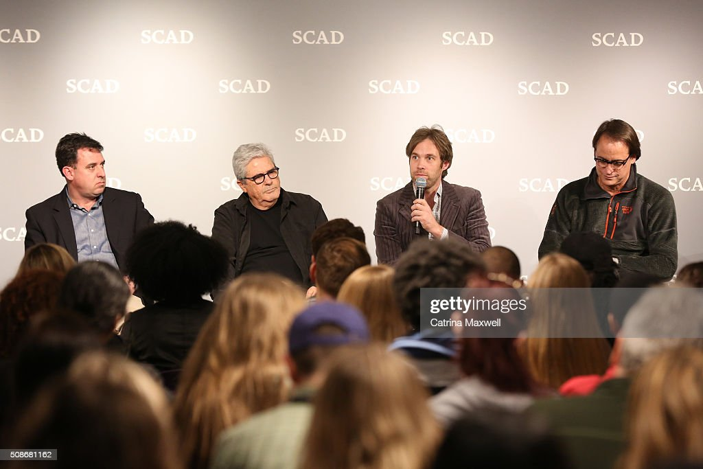 Owner of Mailing Avenue Stageworks John Raulet, Producer at Eagle Rock Atlanta Gideon Amir, moderator Kevin Bar and Executive Vice President EUE/Screen Gems Atlanta Kris Bagwell, speak during 'Hollywood of the South: Georgia Studios' panel during Day Two of aTVfest 2016 presented by SCAD on February 5, 2016 in Atlanta, Georgia.