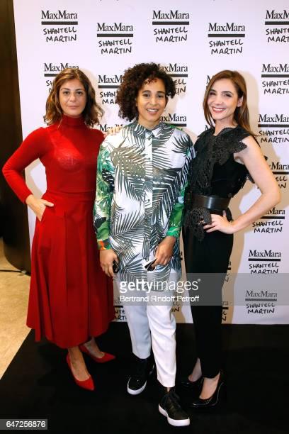 Owner of Max Mara Maria Giulia Maramotti Artist Shantell Martin and Princess of Savoy Clotilde Courau attend the Max Mara 'Prism in Motion' Eventas...