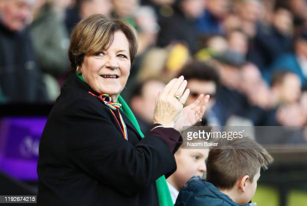 Owner of Norwich City Delia Smith looks on during the Premier League match between Norwich City and Sheffield United at Carrow Road on December 08...