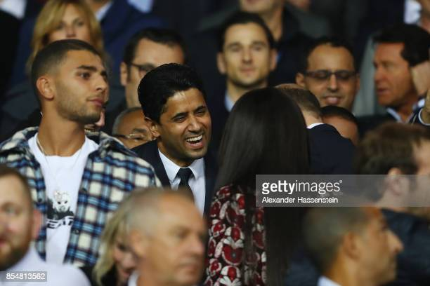 Owner of PSG Nasser AlKhelaifi speaks with Model Naomi Campbell during the UEFA Champions League group B match between Paris SaintGermain and Bayern...