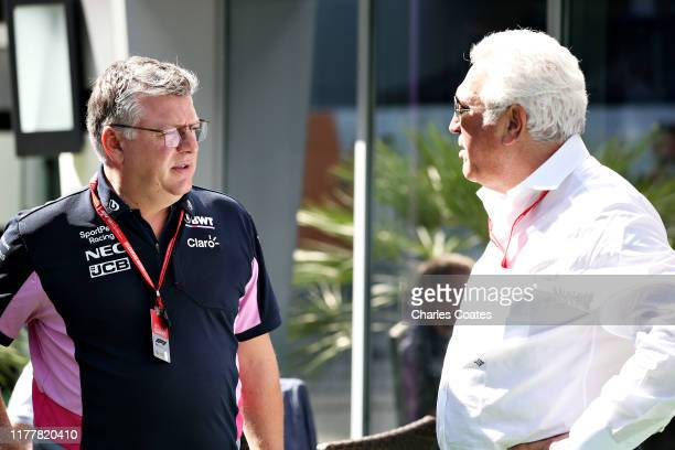Owner of Racing Point Lawrence Stroll and Otmar Szafnauer Team Principal and Chief Executive Officer of Racing Point talk in the Paddock before the...