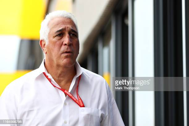 Owner of Racing Point Lawrence Stroll looks on in the Paddock beforeg final practice for the F1 Grand Prix of Germany at Hockenheimring on July 27...