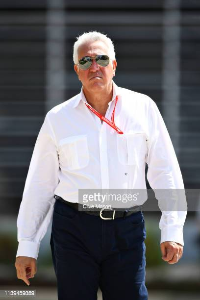Owner of Racing Point Lawrence Stroll walks in the Paddock before the F1 Grand Prix of Bahrain at Bahrain International Circuit on March 31 2019 in...