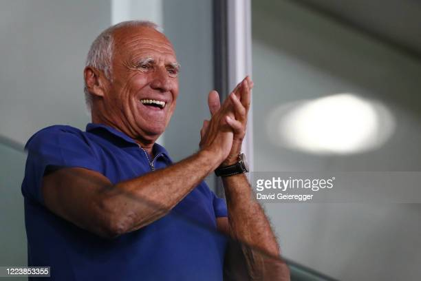 Owner of Red Bull Dietrich Mateschitz of Austria celebrates with the team of FC Red Bull Salzburg during the tipico Bundesliga match between Red Bull...