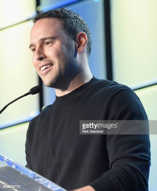Owner of School Boy Records and RBMG Scooter Braun speaks onstage during the Music Biz 2018 Awards Luncheon for the Music Business Association on May...