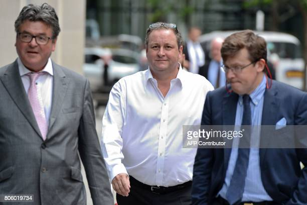 Owner of Sports Direct and Newcastle United Mike Ashley arrives at the High Court in central London on July 3 to defend himself against a lawsuit...