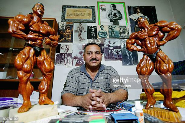 Owner of The Arnold Classic Gym SahabTalib Mahdi a former Asian champion poses May 16 2004 in Baghdad Iraq The Arnold Classic Gym in Baghdad was...