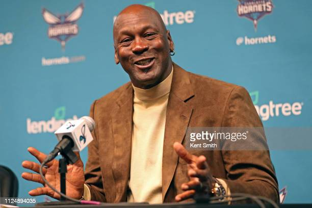 Owner of the Charlotte Hornets Michael Jordan hosts a press conference for media before NBA AllStar Weekend at the Spectrum Center in Charlotte North...