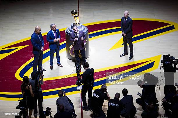 Owner of the Cleveland Cavaliers Dan Gilbert addresses the crowd before the game against the New York Knicks on October 25 2016 at Quicken Loans...