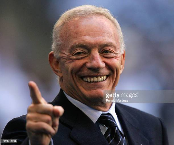 Owner of the Dallas Cowboys Jerry Jones smiles on the sidelines before the NFC Divisional Playoff game against the New York Giants at Texas Stadium...