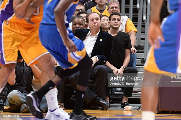Owner of the Golden State Warriors Joe Lacob attends the game against the Los Angeles Lakers on December 23 2014 at Staples Center in Los Angeles...