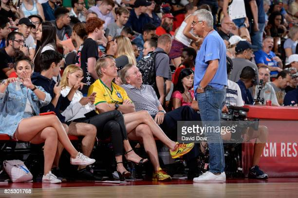 Owner of the Milwaukee Bucks Wes Edens talks with Marc Lasry at the game between the Milwaukee Bucks and the Brooklyn Nets during the 2017 Las Vegas...