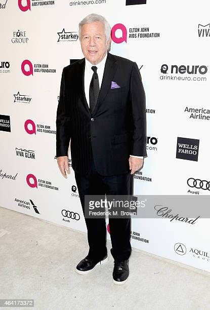 Owner of the New England Patriots Robert Kraft attends the 23rd Annual Elton John AIDS Foundation's Oscar Viewing Party on February 22 2015 in West...