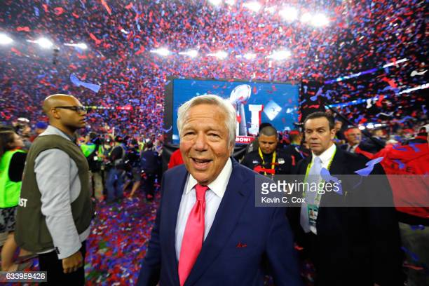 Owner of the New England Patriots Robert Kraft celebrates after the Patriots defeat the Atlanta Falcons 3428 during Super Bowl 51 at NRG Stadium on...