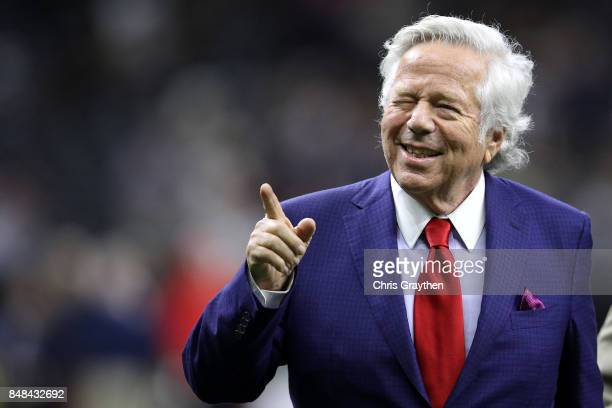 Owner of the New England Patriots Robert Kraft walks on the field prior to the game against the New Orleans Saints at the MercedesBenz Superdome on...