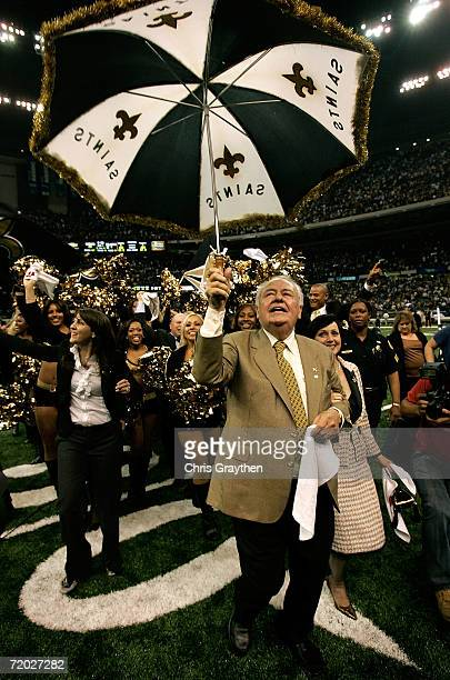Owner of the New Orleans Saints, Tom Benson, his wife Gayle and his granddaughter, Rita Benson LeBlanc, Saints Chief Operating Officer celebrate as...