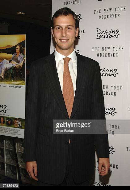 Owner of The New York Observer Jared Kushner arrives to the premiere of the Sony Pictures Classics presentation of Driving Lessons at the Chelsea...